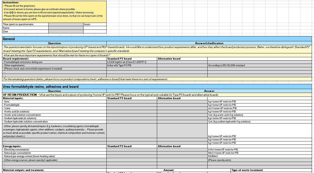 Click to enlarge: Example of a data questionnaire used for Deliverable 5.1
